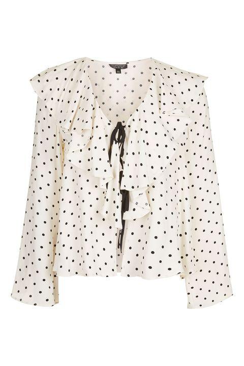 Clothing, Outerwear, Sleeve, Pattern, Jacket, Blouse, Top, Beige, Design, Polka dot,