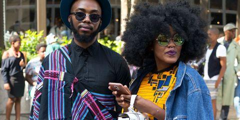 Afro, Hairstyle, Jheri curl, Cool, Event, Eyewear, Smile, Street fashion,