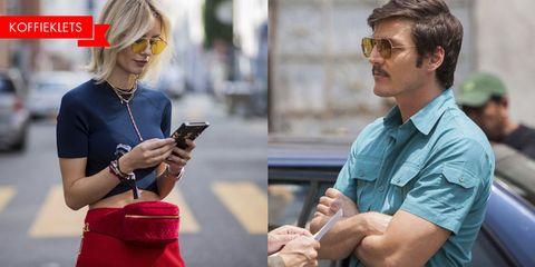 Eyewear, Glasses, Hairstyle, Sunglasses, Blond, Technology, Electronic device, Smartphone, Gadget, Fashion accessory,