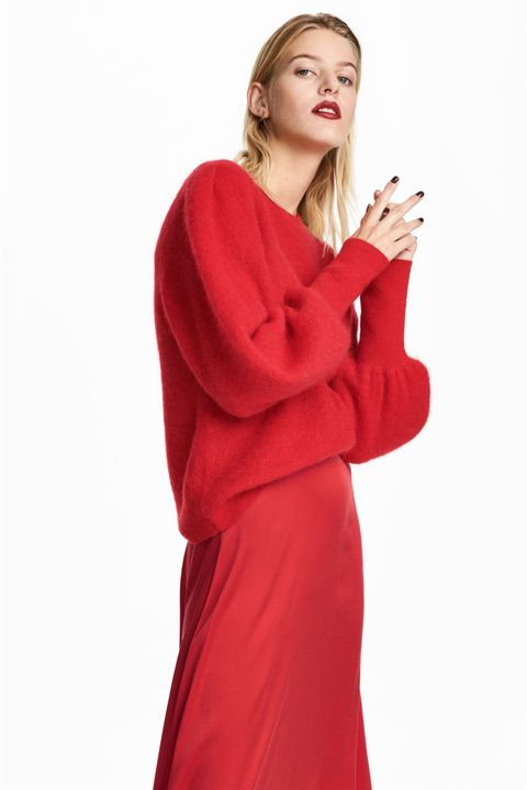 Clothing, Red, Outerwear, Robe, Sleeve, Dress, Neck, Fashion model, Hood, Magenta,