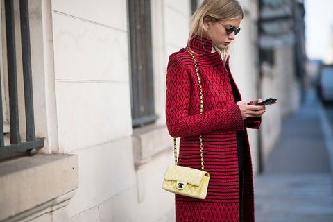 Clothing, Street fashion, Red, Fashion, Outerwear, Pink, Coat, Dress, Neck, Sweater,