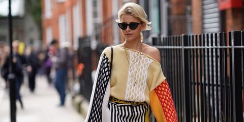 Street fashion, Eyewear, Fashion, Clothing, Sunglasses, Shoulder, Yellow, Snapshot, Fashion model, Outerwear,
