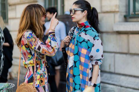 Street fashion, Clothing, Fashion, Eyewear, Yellow, Outerwear, Plaid, Textile, Design, Sleeve,