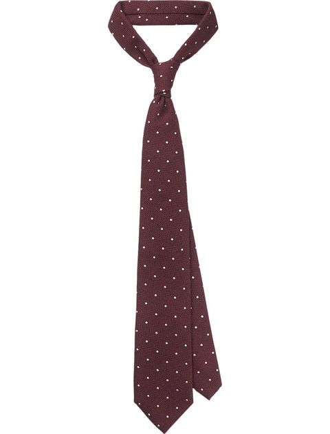 Tie, Brown, Maroon, Fashion accessory, Stole, Pattern, Scarf, Design, Polka dot, Bow tie,