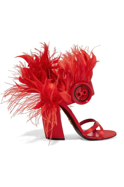 Red, Footwear, Feather, High heels, Pink, Shoe, Cut flowers, Flower, Costume accessory, Sandal,