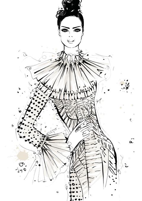 <p>細緻的手藝和美麗的織品,Valentino此系列作品包含品牌獨特的風格特性,作品呈現出完美戰士的氛圍。令我印象深刻的是這件長禮服,混搭著部落風的蕾絲、串珠和羽毛裝飾;有如逃入一個充滿Valentino繆思的世外桃源。</p>