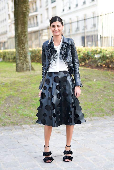 <p>        魚鱗亮片皮革外套搭上皮革洞洞圓裙,表現令人眼前一亮風格張力。</p>