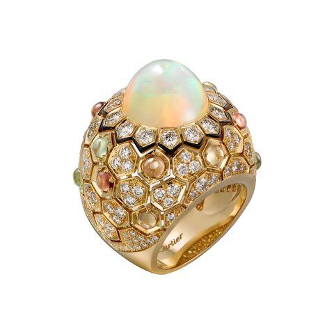 <p>黃K金蛋白石戒指</p>