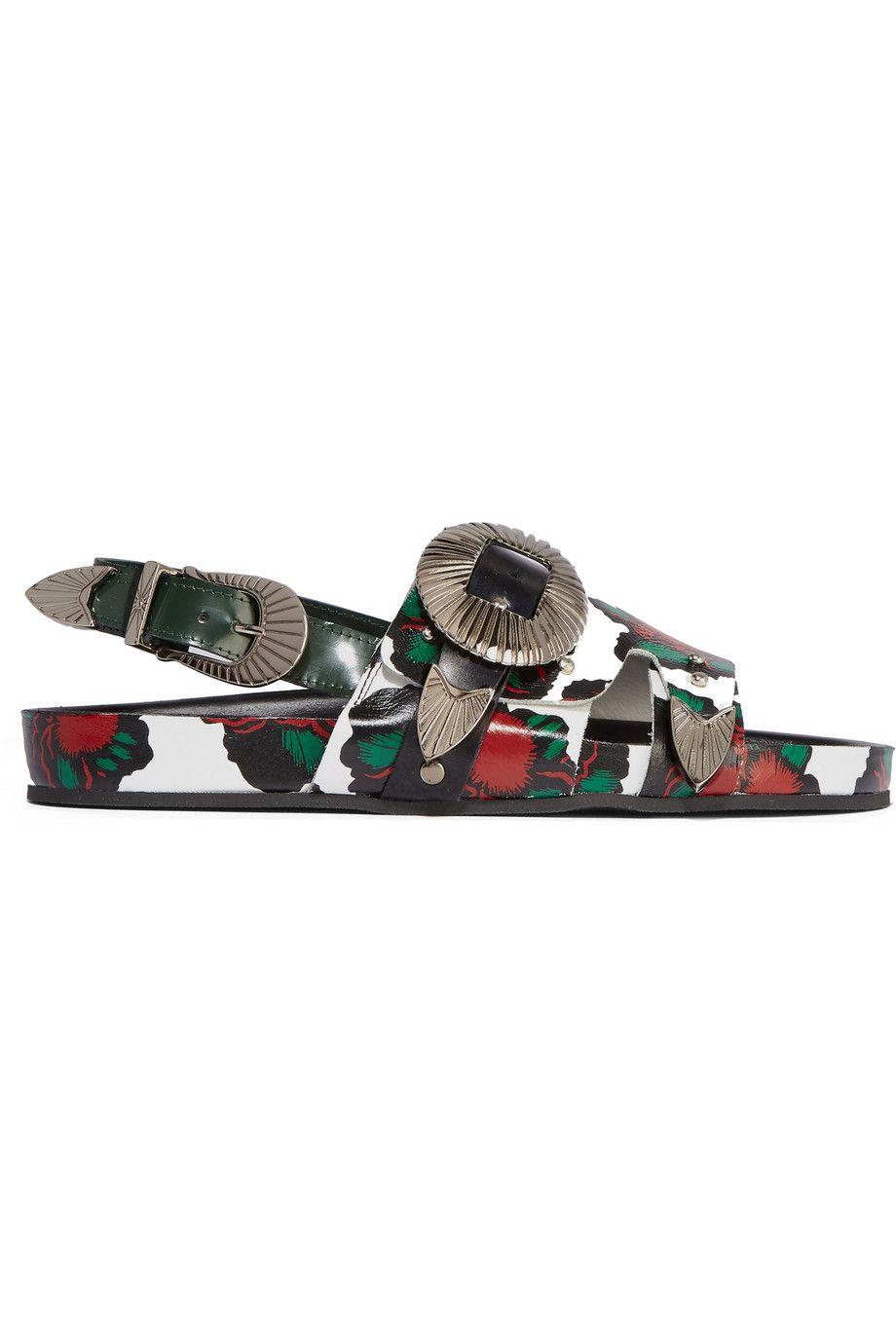 <p>花皮革涼鞋,約NT11,120,Toga at Net-A-Porter。</p>