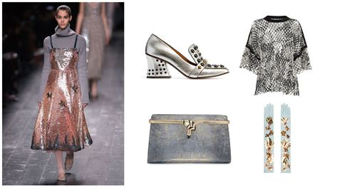 Textile, Fashion, Pattern, Street fashion, Fashion design, Design, One-piece garment, Silver, Fashion model, Pattern,