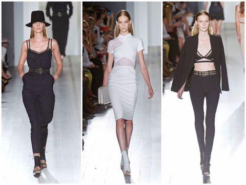 <p>一看就知道是Victoria Beckham。黑白簡約,貼身肩線、水蛇腰和極高的高跟鞋,整個系列彷彿是她個人衣櫃的展示一般。</p>