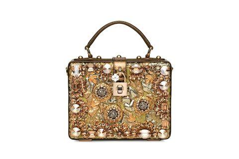 <p>花卉刺繡硬殼手拿包,價格電洽,Dolce & Gabbana。</p>