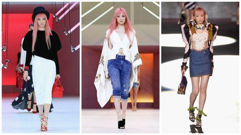"<p>(左) 這身來自Georgia Alice摩登與童話兼併的設計,搭配上時髦鮮豔的綁帶鞋與手拿包,意外契合。 (中) 垂墜的袖子飄逸出淡淡民族風,搭上單寧七分褲尤為休閒,Fernanda 的粉色頭髮巧妙地為Sass Bide的設計在視覺添上柔與美。(右) 時髦潮牌Dsquared2,性感不羈的設計特質亦創意十足,打造處處充滿細節巧思的前衛裝扮。  <span class=""redactor-invisible-space"" data-verified=""redactor"" data-redactor-tag=""span"" data-redactor-class=""redactor-invisible-space""></span></p>"