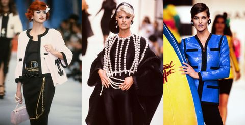 <p><span>從Chanel的秀場上,不但可以看到超模Linda Evangelista完美轉化成各種風格,更可以看出以往Chanel的風格變化。仔細一看,鴨舌帽的boy look搭法是不是跟最新發表的2017春夏系列有些相像?</span><br></p>