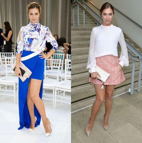 <p>(左)Amber Le Bon出席Gabriela Cadena大秀,身穿幾何渲染設計上衣搭配寶藍色開衩長裙,新穎時髦的造型,驚豔眾人。</p><p>(右)在Antonio Berardi時裝秀上,以白色雪紡上衣搭配粉紅色短裙,甜美形象不言而喻。</p>