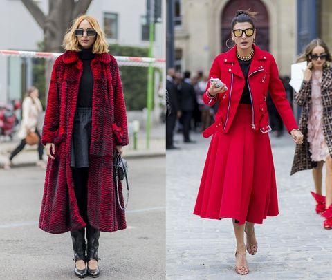 <p>(左)艷麗紅色混和神祕黑色的雜色皮草大衣,搭配簡單上衣與短裙已氣勢驚人,加上一副搶眼墨鏡與個性長靴,更顯無人能及的時髦風範。(右)搖滾風格的騎士外套,搭配金色調為主的搶眼大耳環及陽剛的鎖鏈頸環,讓妳輕鬆成為聖誕派對的目光焦點。</p>