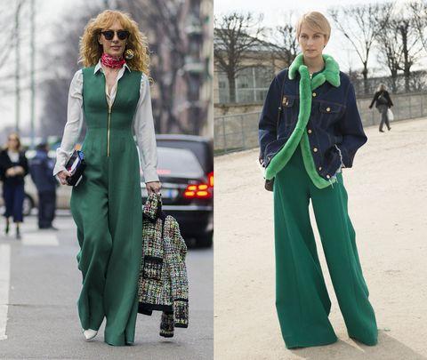 <p>(左)金色拉鍊裝飾的綠色摩登連身褲,與頸項間的紅色變形蟲圖樣Bandana方巾,創造復古的撞色效果,隨興拎起的彩色織紋毛呢夾克與淨白襯衫,則總和了跳躍色彩。(右)毛茸茸的亮綠滾邊,為牛仔外套加了點溫暖感覺,與及地寬褲搭配之下,創造修長不臃腫的溫暖冬日搭配。</p>
