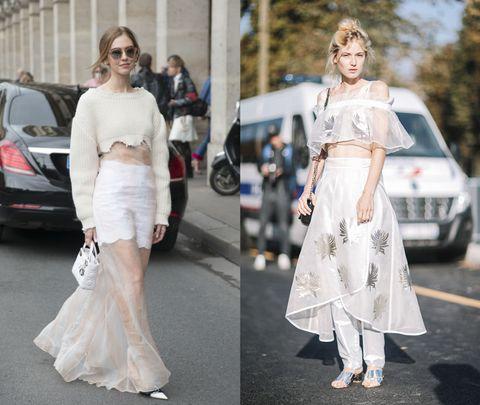 <p>(左)短版不規則下擺毛衣搭配夢幻透紗,創造輕盈視覺感,紗質裙襬在步伐律動中,創造若隱若現的無限遐思。(右)紗質荷葉上衣搭配交叉片裙與內搭長褲,純淨透白的面料在陽光下與銀色針葉圖樣反射出溫和光芒,彷彿來自雪國的仙子正享受著難得冬陽。</p>