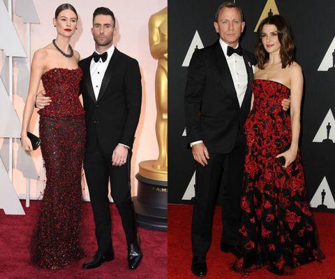 <p>聖誕節少不了的紅色元素配上神秘闇黑,閃爍綴飾則添禮服光采,成熟貴氣再加乘,貼身魚尾、及地裙襬各自描繪出冷豔、優雅之美,配上俐落包頭和浪漫微捲,展現絕倫品味。</p>  <p>(左)Behati Prinsloo&Adam Levineg</p>  <p>(右)Daniel Craig&Rachel Weisz</p>  <p></p>