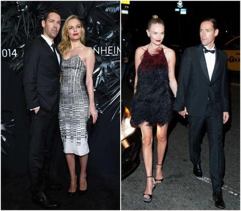 <p>(左)摩登氣息的貼身禮服和俐落合身的男士西裝,兩者肩並肩,氣勢猶如特務般帥氣靈敏。(右)羽毛洋裝的華麗與緞面領結的奢華質感,搭配梳整乾淨的包頭、西裝頭,更添精明幹練的視覺印象。  </p>