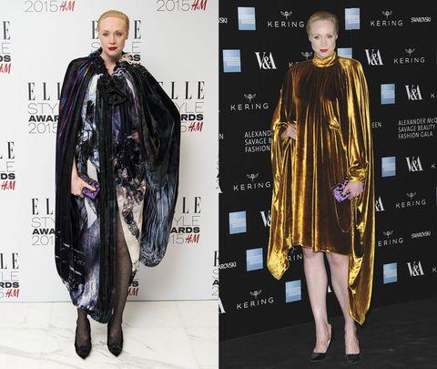<p>(左)穿上Giles的蟲洞渲染斗篷式禮服,讓神秘的雷射光彩與暗黑色澤交融出如夢境般的超現實意象。(右)暗金色天鵝絨在細緻抓皺間錯落出迷人光彩,搭配上撞色的粉紫手拿包,營造大膽時髦態勢。</p>