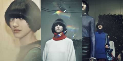 Hairstyle, Sleeve, Black hair, Fashion, Cool, Grey, Space, Sweater, Bangs, Mannequin,