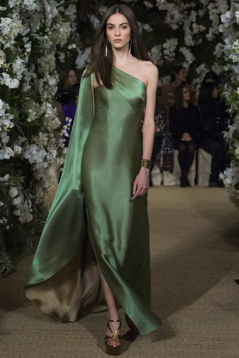 Fashion model, Clothing, Dress, Fashion, Green, Haute couture, Shoulder, Formal wear, Gown, Bridal party dress,
