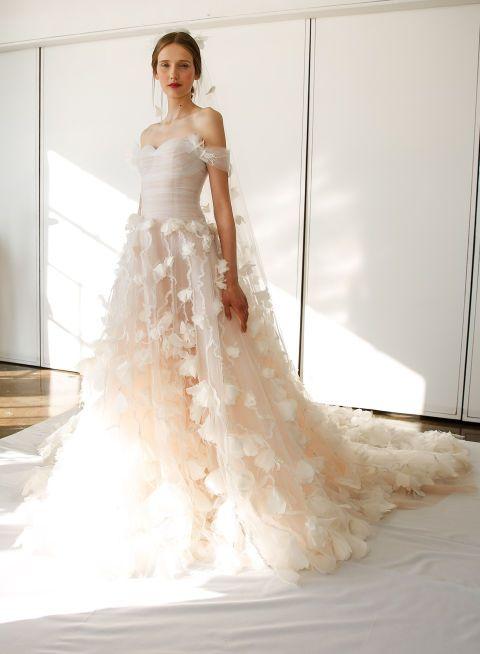 Gown, Wedding dress, Fashion model, Dress, Clothing, Bride, Bridal clothing, Bridal party dress, Shoulder, Photograph,