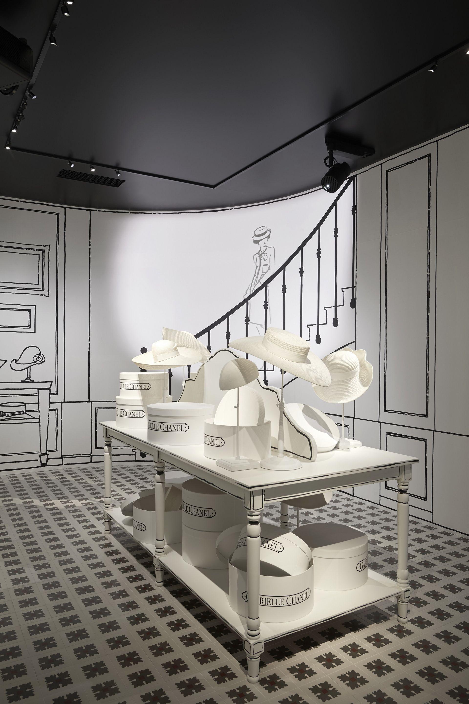 "<p>        踏入D MUSEUM的挑高階梯,最先映入眼簾的是香奈兒女士鍾愛的亮漆烏木屏風圖樣屋頂,以及一系列的裝飾藝術作品,接著進入M1樓層內,仿照1913年首家Chanel法國專賣店打造的杜維埃房間(Deauville Room),在裝飾著帽盒及一系列短片的摩登空間內,線條感強烈的優雅圖樣搶佔視覺焦點,同時召喚舊時Chanel記憶再現。<span class=""redactor-invisible-space""></span></p>"