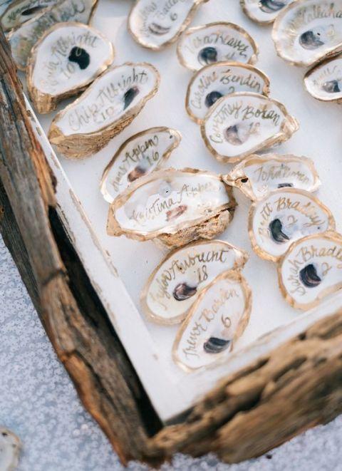 <p>各式貝殼、海星裝飾搖身一變為賓客名單,呼應整場婚禮主體,讓賓客們結束婚禮都想保留。</p>