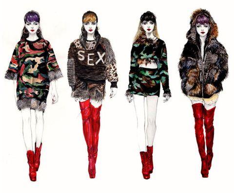 Fashion illustration, Clothing, Fashion, Fashion design, Costume design, Leggings, Outerwear, Fashion model, Runway, Illustration,