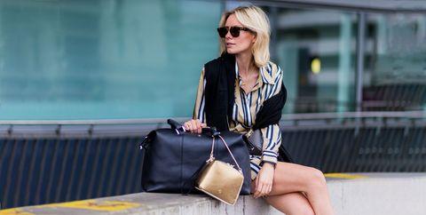 Clothing, Street fashion, Shoulder, White, Fashion, Eyewear, Blazer, Footwear, Outerwear, Sunglasses,