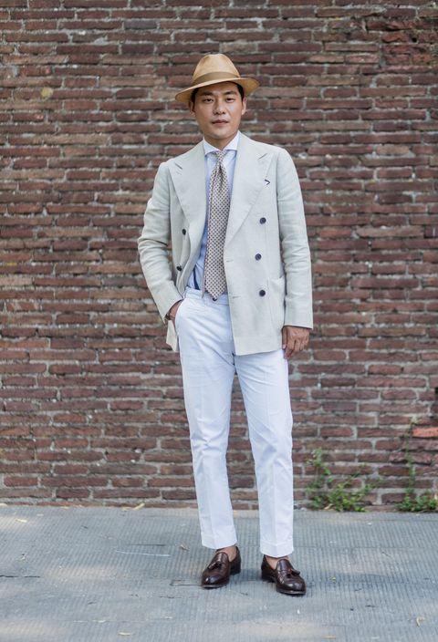 """<p>          感染東方氣息的草編紳士帽點綴米白色套裝,散發中式風情,揮別過往西裝刻板印象,使淺色雙排釦外套帶來清爽舒適感,溫柔的純白長褲搭配皮革樂福鞋,復古氣質躍然而生。  <span class=""""redactor-invisible-space""""></span></p>"""