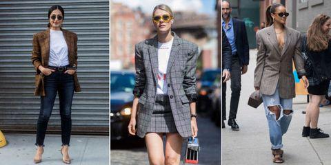 Clothing, Fashion, Street fashion, Fashion model, Jeans, Outerwear, Blazer, Footwear, Jacket, Shoe,