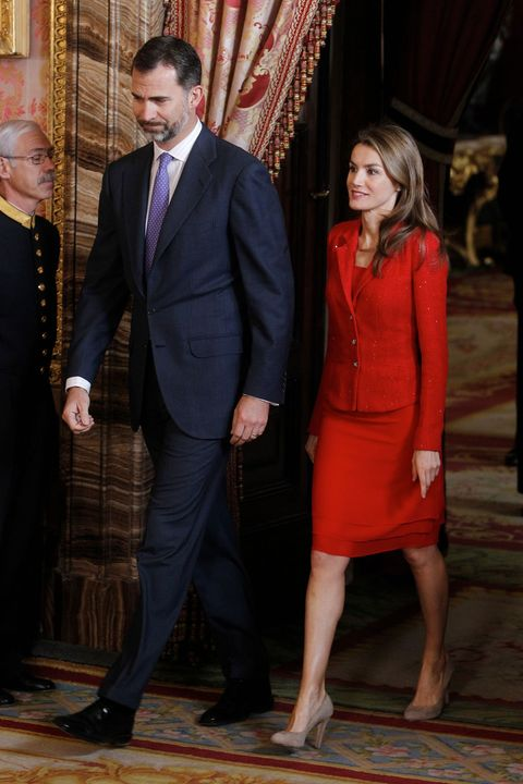 "MADRID, SPAIN - APRIL 22:  Prince Felipe of Spain and Princess Letizia of Spain attend a lunch for the ""2013 Cervantes Award"" at the Royal Palace on April 22, 2013 in Madrid, Spain.  (Photo by Miguel Acero - Pool/Getty Images)"
