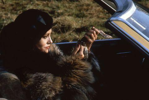 Fur, Vehicle door, Black hair, Car, Fur clothing, Photography, Vehicle, Headgear, Textile, Long hair,