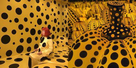 Yellow, Pattern, Design, Illustration, Circle, Polka dot, Visual arts, Art,