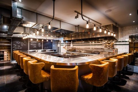 Restaurant, Interior design, Architecture, Room, Building, Lighting, Table, Furniture, Photography, Flooring,