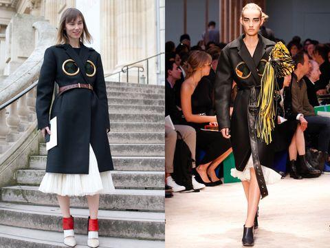 Fashion model, Fashion, Clothing, Street fashion, Runway, Fashion show, Footwear, Shoulder, Dress, Shoe,