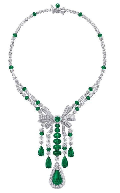 <p>祖母綠鑽石項鍊,Graff。</p>