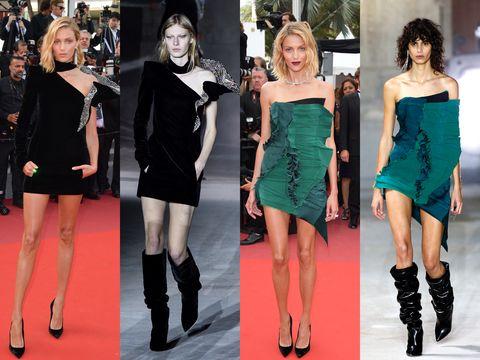 Fashion model, Fashion, Clothing, Footwear, Shoulder, Dress, Little black dress, Joint, Leg, Cocktail dress,