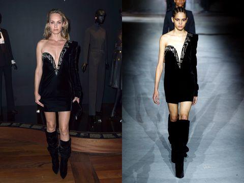 Fashion model, Fashion, Clothing, Shoulder, Dress, Runway, Knee-high boot, Knee, Joint, Footwear,