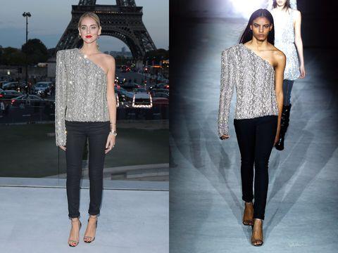 Clothing, Fashion model, Fashion, Shoulder, Jeans, Runway, Neck, Leggings, Waist, Joint,