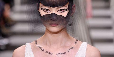 Eyewear, Fashion, Hair, White, Glasses, Clothing, Haute couture, Shoulder, Dress, Beauty,