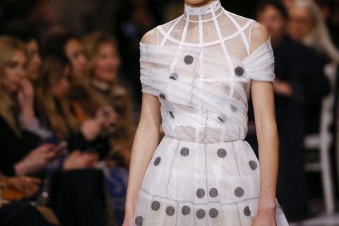 Fashion model, Fashion, White, Clothing, Runway, Fashion show, Haute couture, Dress, Fashion design, Design,
