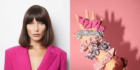 Hair, Pink, Hairstyle, Gesture, Finger, Magenta, Hand, Long hair, Fashion accessory, Style,
