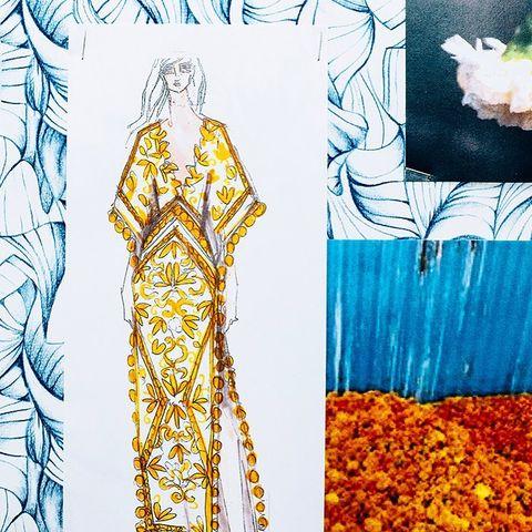Fashion illustration, Yellow, Illustration, Art, Fashion design, Pattern, Graphic design, Dress, Drawing, Costume design,