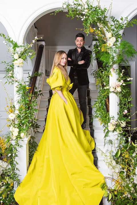 Yellow, Clothing, Dress, Gown, Shoulder, Fashion, Haute couture, Formal wear, Outerwear, Photo shoot,