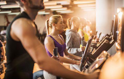 crowded gym elliptical