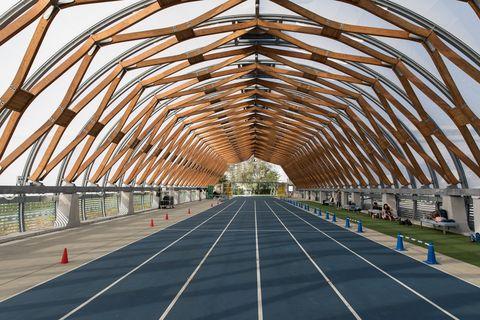 Architecture, Bridge, Line, Burr truss, Wood, Building, Infrastructure, Arch, Daylighting, Roof,